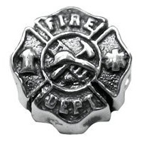 Zable Sterling Silver Fire Department Shieldビーズチャーム( 11 x 11 mm )