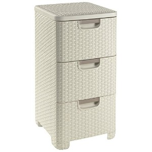 Curver 3 x 14 Litre Plastic Style Drawer Tower, White by Curver