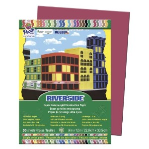 Riverside Construction Paper, 76 lbs., 9 x 12, Scarlet, 50 Sheets/Pack (並行輸入品)