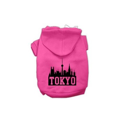 Tokyo Skyline Screen Print Pet Hoodies Bright Pink Size XL (16)