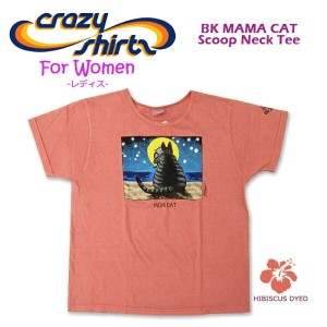 Crazy Shirts(クレイジーシャツ)-Womens- S/S Scoope Neck Tee @Hibiscas Dyed[2006991] BK MAMA CAT クリバンキャット/半袖...