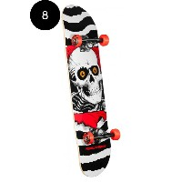 【POWELL PERALTA パウエル・ペラルタ】8in x 32.125in RIPPER ONE OFF WHITE/RED COMPLETEコンプリートデッキ(完成組立品)スケートボード...