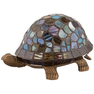 Dale Tiffany 7908/816A Blue Turtle Accent Lamp, Antique Bronze and Art Glass Shade by Dale Tiffany...