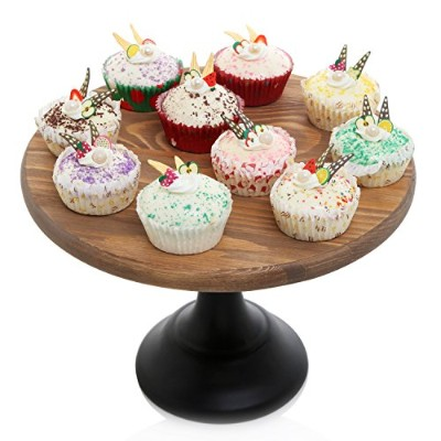 30cm Round Wooden Cake and Dessert Pedestal Display Stand with Black Base