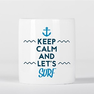 Keep Calm and Let's Surf Surfing Blue Waves Inspirational Ocean Sea 貯金箱