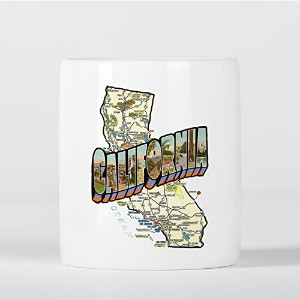 California Map Vintage Style San Francisco Los Angeles 貯金箱