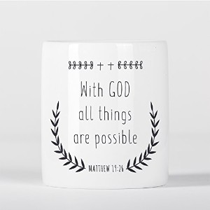 With God All Things Are Possible Matthew Bible Verse Christian Quote 貯金箱