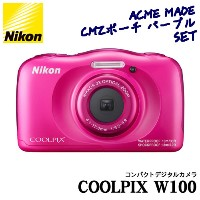 【★SD16GB&ポーチ等セット】Nikon(ニコン) デジカメ COOLPIX W100 ピンク【快適家電デジタルライフ】