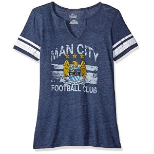 サッカーManchester City Football Club Women 's Go Far Tee、M、海軍ヘザー/ホワイト