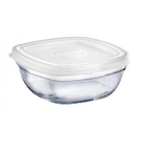 Duralex – Lys Square Stackable Bowl With White Lid 11-cm ( 4 1 / 8 in )