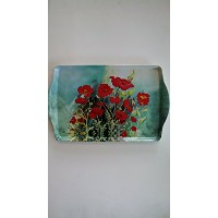 """15"""" Red PoppiesメラミンPlastic Serving Tray"""