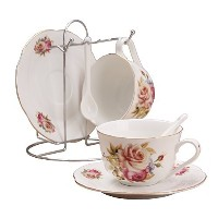 Porcelain Tea Cup and Saucerコーヒーカップセットwith Saucer andスプーンby wandeful、2のセット( 2ティーカップセットとブラケット)