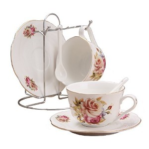 Porcelain Tea Cup and Saucerコーヒーカップセットwith Saucer andスプーンby wandeful ,セットof 7 ( 2ティーカップ、2 Saucers...