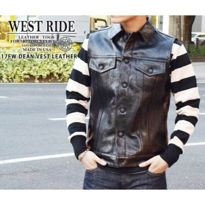 【WEST RIDE/ウエストライド】レザーベスト/17FW DEAN VEST LEATHER★REAL DEAL
