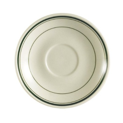 (10cm ) - CAC China GS-36 10.2cm Greenbrier Green Band American Stoneware Saucer, White, Box of 36