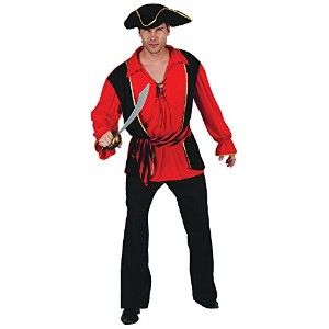 Bristol Novelty Red Pirate Captain Waistcoat & Shirt / Hat . Adult Costumes - Men's - One Size.
