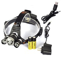 New 3x Cree Xm-l T6 +2 X R5 LED 3000lm Rechargeable Headlamp Headlight Head Lamp + Ac Charger + USB...