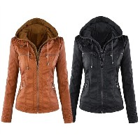 Women Ladies PU Leather Removable Hoodie Motorcycle Zipper Jacket Coat