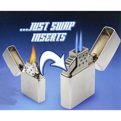 Blazer 189-9201 Top-Z Dual Torch Flame Lighter Insert, White/Silver [並行輸入品]
