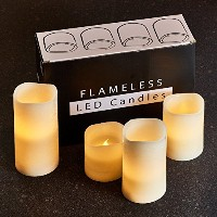 Hayley Cherie–Textured Real Wax Flameless Candles withタイマー(セットof 4)–LEDキャンドルちらつき3インチ、4インチ、5インチ...
