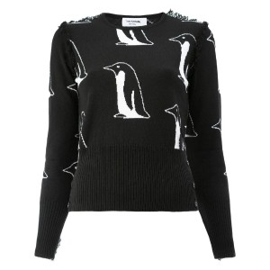 Thom Browne - cashmere penguin print top - women - カシミア - 5