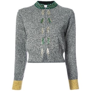 Toga - embroidered cropped cardigan - women - ナイロン/ウール - 36