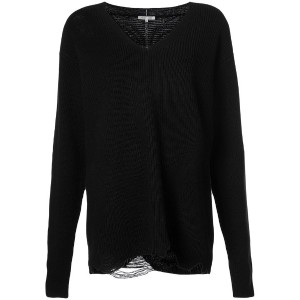 Helmut Lang - distressed v-neck sweater - women - ウール/カシミア - XS