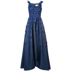 Carolina Herrera - embroidered flared gown - women - シルク/コットン - 14
