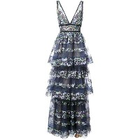 Marchesa Notte - butterfly embroidery layered gown - women - ナイロン/金属化ポリエステル - 12