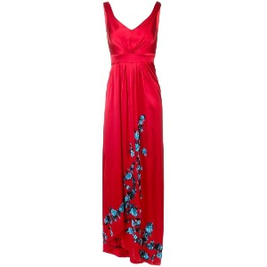 Carolina Herrera - embroidered fitted maxi dress - women - シルク - 10
