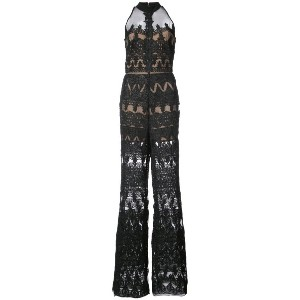 Nicole Miller - jumpsuit with sheer panels - women - ナイロン - 6