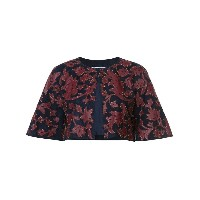 Oscar de la Renta - cropped jacket with print - women - スエード/レザー - 6