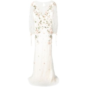 Marchesa Notte - floral embellished sheer dress - women - ナイロン/ポリエステル - 14