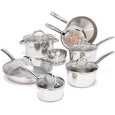 T-fal C836SD Ultimate Stainless Steel Copper-Bottom Heavy Gauge Multi-Layer Base Cookware Set, 13...