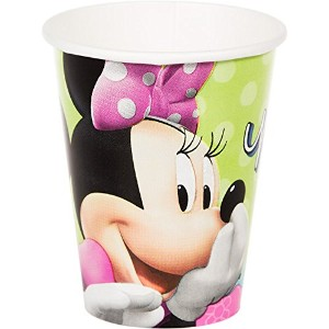 Amscan Disney Minnie Paper Cups誕生日Hot & Cold Beverage Drink使い捨て& DrinkwareパーティーSupplies 8 Pieces...