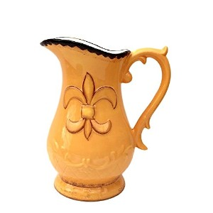 Tuscany Fleur De Lis Pitcher Color: Yellow by A.C.K. Trading Co.