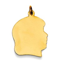 14K Yellow Gold Girl's Head Charm (12 x 21mm)