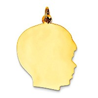 14K Yellow Gold Boy's Head Charm (18 x 28mm)
