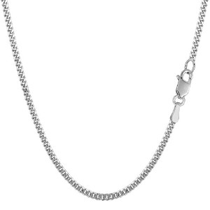 """14k White Gold Gourmette Chain Necklace, 2.0mm, 24"""""""