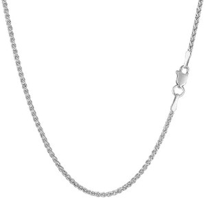 14k White Gold Round Wheat Chain Necklace, 1.5mm, 18""
