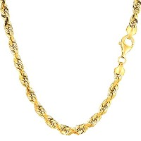 """14k Yellow Gold Solid Diamond Cut Royal Rope Chain Necklace, 5.0mm, 24"""""""
