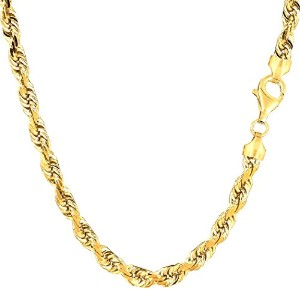 14k Yellow Gold Solid Diamond Cut Royal Rope Chain Necklace, 5.0mm, 24""
