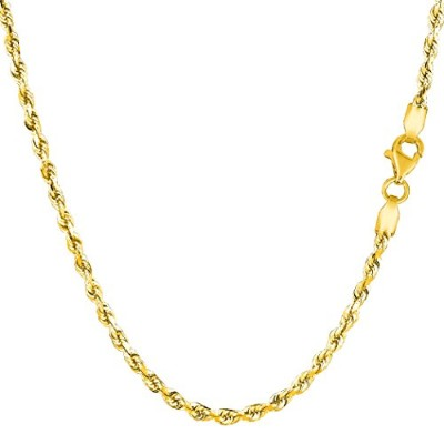 """14k Yellow Gold Solid Diamond Cut Royal Rope Chain Necklace, 2.5mm, 16"""""""