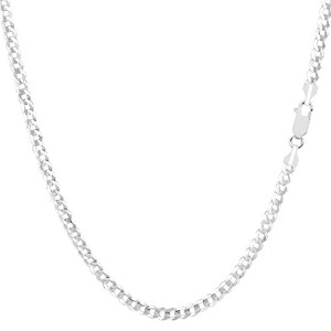 """14k White Gold Comfort Curb Chain Necklace, 2.7mm, 18"""""""