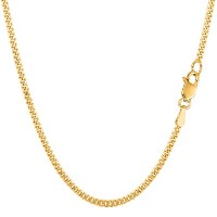 """14k Yellow Gold Gourmette Chain Necklace, 2.0mm, 18"""""""