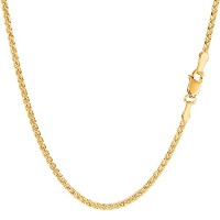14k Yellow Gold Round Wheat Chain Necklace, 2.1mm, 18""