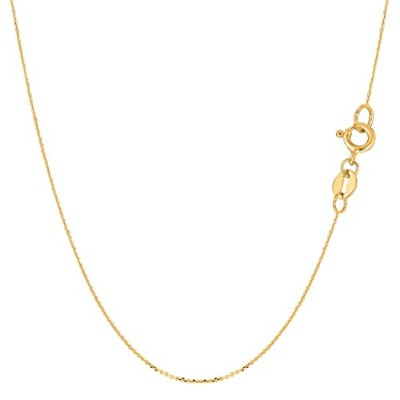 """14k Yellow Gold Cable Link Chain Necklace, 0.6mm, 16"""""""