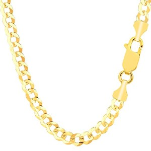 """14k Yellow Gold Comfort Curb Chain Necklace, 5.7mm, 30"""""""