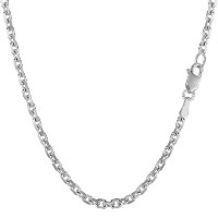14k White Gold Cable Link Chain Necklace, 3.1mm, 18""