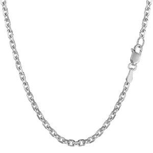 14k White Gold Cable Link Chain Necklace, 3.1mm, 24""